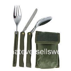 NATO STYLE FOLDING KFS KNIFE FORK SPOON CUTLERY SET