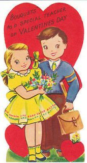 Valentine Card Teacher Boy and Girl Bouquet Die Cut for Children Kids