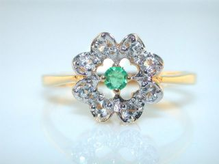 FRANKLIN MINT GENUINE EMERALD & CZ STERLING SILVER GOLD PLATED RING