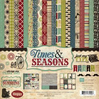 Echo Park Times & Seasons 12x12 Paper Kit STICKER Sheet RETRO Antique