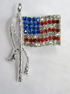 American Flag Pin Brooch Patriotic Red White Blue Design # 0270 New