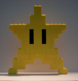 LEGO NINTENDO SUPER MARIO BROS YELLOW STAR LEGO BRICK 8 BIT CUSTOM 5.5
