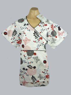 Medical Scrubs  Printed Mock Wrap Top/ Uniform Nurse/ Vet/ Dental BN