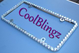 BIG CRYSTAL AB Bling Diamond Rhinestone License Plate Frame