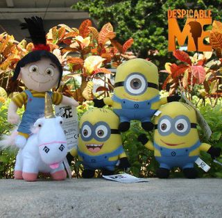Despicable Me Plush Character Toy 3 Minions & Unicorn & Agnes Stuffed