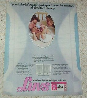1983 Luvs Diapers baby shaped diaper VINTAGE print AD