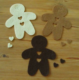 12   Felt Die Cuts   Gingerbread Man   new Colours   Topper   Cards