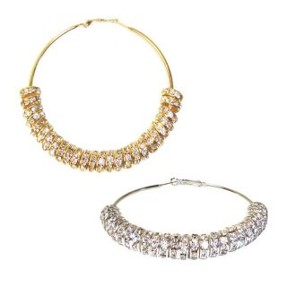 Rhinestone Loose Bead Wheel Hoop Earrings GOLD SILVER COLORED