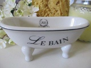 NEW Le Bain Paris Themed Bathroom Accessories Soap Dish Tub off White
