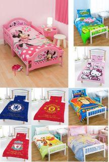 TODDLER COT BED DUVET SET DISNEY KIDS TV CHARACTER & FOOTBALL CLUB