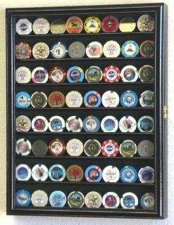 64 Casino Poker Chips Coin Cabinet Display Case Rack