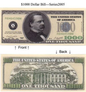 one thousand dollar bill in Federal Reserve Notes