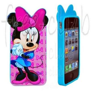 Disney Minnie Mouse Blue Skirt Pink Ribbon Case Cover for iPhone 4/4S