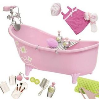 Pink Bath Tub and Accessories Made to Fit 18 Inch American Girl Doll