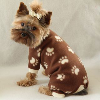 Paw Print Cozy Fleece Dog Pajamas clothes PJS pet apparel Medium