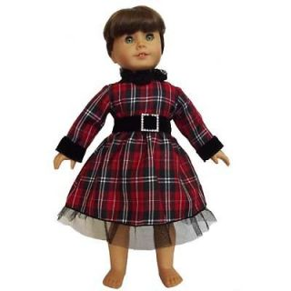 Plaid Dress fits AMERICAN GIRL DOLL and 18 inch dolls clothes