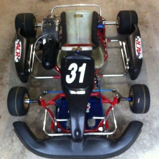 Used 06 PCR Exagone All 30mm Full Size Racing Go Kart W/KT100 Engine.