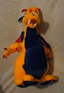 Toy Co 2001 Large Stuffed Plush Bean Bag Orange Purple Dragon Doll
