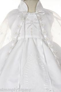 Infant Toddler Girl Christening Dress Baptism Gown Satin White 0 6 12