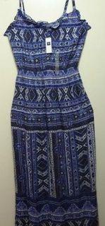 GAP women rayon blue white brown pattern floral summer dress long sz S