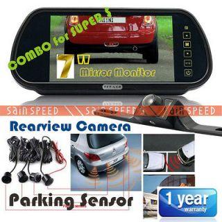 Car Rear View Mirror LCD Monitor + Parking Sensor + Reversing Camera