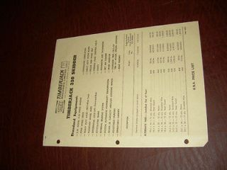 TIMBERJACK PRICE SHEET 1969 330 GRAPPLE SKIDDER BROCHURE ORIGINAL