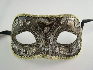Venetian Design MASQUERADE MARDI GRAS BLACK   GOLD   PARTY FACE MASK