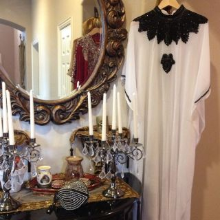 White Dubai Abaya Kaftan With Black Handmade Stones