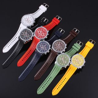 Geneva Silicone Rubber Jelly Gel Quartz Analog Sports Wrist Watch