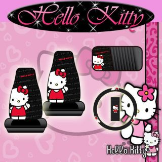 HELLO KITTY WAVE CD DVD VISOR ORGANIZER FRONT SEAT COVERS WHEEL COVER