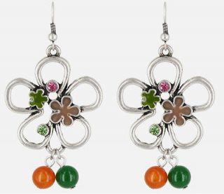 FASHION.ORANGE & GREEN FLOWERS EARRINGS.PENDIENTES BISUTERIA HIPPIE