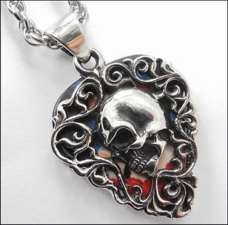 Guitar Pick Holder Pendant Necklace, Sugar Skull, Day of The Dead