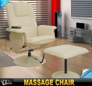 New White TV Office Vibration Massage Chair Professional PU Leather