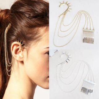 NEW Fashion Punk Gothic Ear Cuff Earrings Chain Hair Cuff Comb BOHO