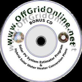 BONUS CD Solar Water Heater Plans & Solar Electric Materials