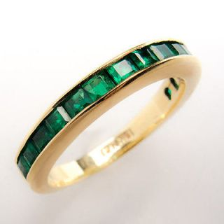 Emerald Wedding Band Ring Channel Set Half Moon Solid 18K Gold Jewelry