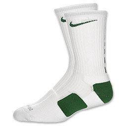 NIKE ELITE SOCKS WHITE GREEN SIZE 8 12 LARGE L HARD TO FIND BRAND NEW