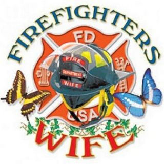 NEW GIFT~FIREFIGHTERS WIFE~HELMET~EMBLEM~BUTTERFLY~T SHIRT~~Front or