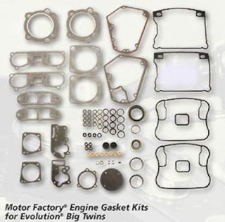 MOTOR FACTORY HARLEY COMPLETE ENGINE GASKET KIT EVO BIG TWIN 84 TO 91