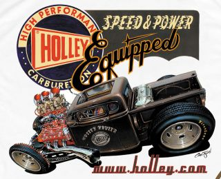 Retro Rat Rod Pickup T shirt with Flathead Ford Engine by Holley Carbs
