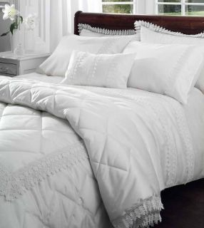 White Lace Satin Effect Bedding