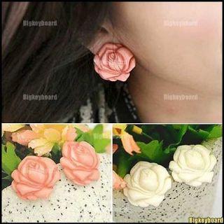 Elegant Lovely Ear Stud White/Pink Big Rose Flower Earring Hot