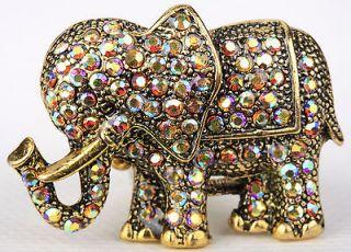 Gold swarovski crystal elephant stretch ring jewelry