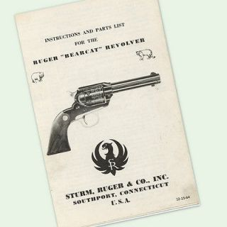 RUGER BEARCAT REVOLVER INSTRUCTIONS PARTS OWNERS MANUAL EXPLODED VIEWS