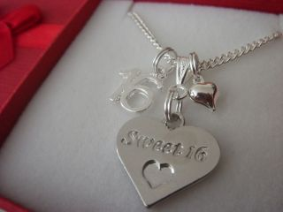 Sweet 16 Heart Pendant Charm Necklace 16th Birthday Gift ,Gift Boxed