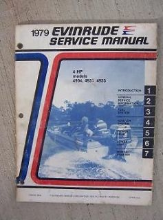 1979 Evinrude Outboard Motor Service Manual 4 HP Models 4904 4932 4933
