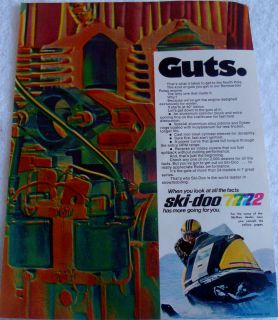 1972 SNOWMOBILE SKI DOO CANADA GUTS BOMBARDIER ROTAX ENGINE WINTER AD
