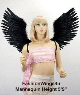 Large V shape Open Swing Black Costume Feather Angel Wings demon raven