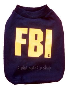 Dog Clothes Pet Dress T Shirt Apparel Costume Cotton Secret Agent FBI