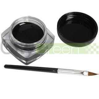 Pro Black Eye Liner Eyeliner Shadow Gel Makeup Cosmetic + Black Brush